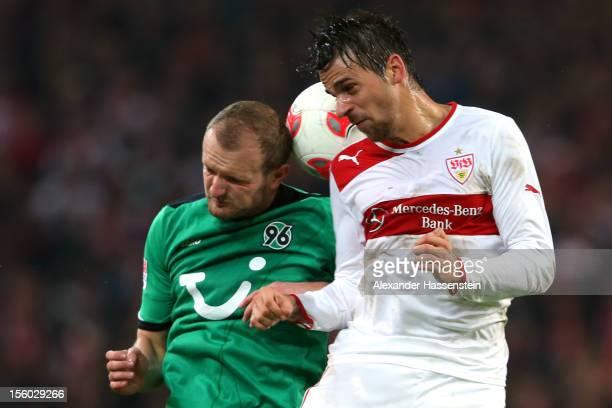 Martin Harnik of Stuttgart battles for the ball with Konstantin Rausch of Hannover during the Bundesliga match between VfB Stuttgart and Hannover 96...