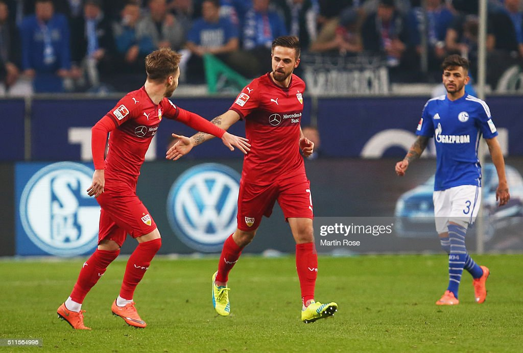 Martin Harnik of Stuttgart (2L) celebrates as he scores their first and equalising goal during the Bundesliga match between FC Schalke 04 and VfB Stuttgart at Veltins-Arena on February 21, 2016 in Gelsenkirchen, Germany.