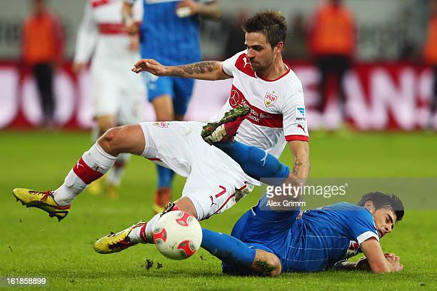 Martin Harnik of Stuttgart is challenged by Kevin Volland of Hoffenheim during the Bundesliga match between TSG 1899 Hoffenheim and VfB Stuttgart at...