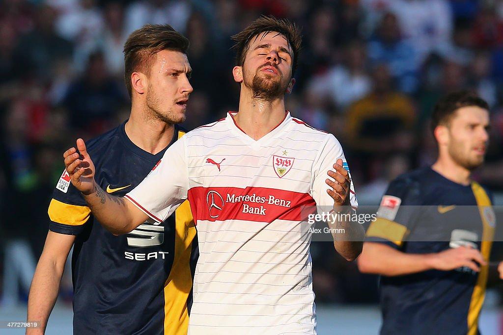 Martin Harnik of Stuttgart reacts during the Bundesliga match between VfB Stuttgart and Eintracht Braunschweig at Mercedes-Benz Arena on March 8, 2014 in Stuttgart, Germany.