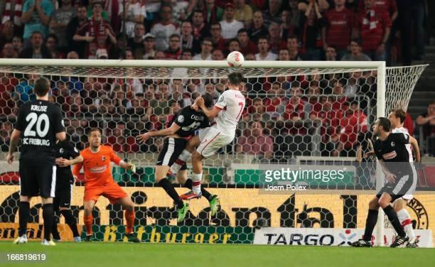 Martin Harnik of Stuttgart scores his team's second goal during the DFB Cup Semi Final match between VfB Stuttgart and SC Freiburg at Mercedes-Benz...
