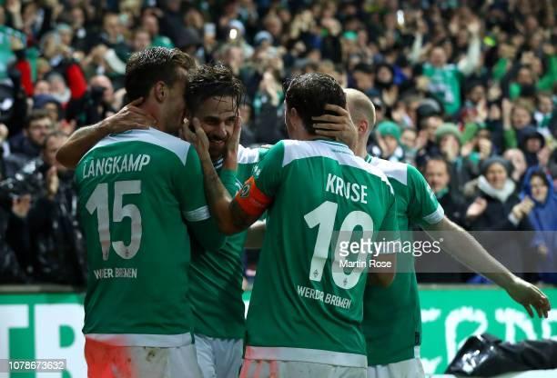 Martin Harnik of SV Werder Bremen celebrates scoring the second goal during the Bundesliga match between SV Werder Bremen and Fortuna Duesseldorf at...