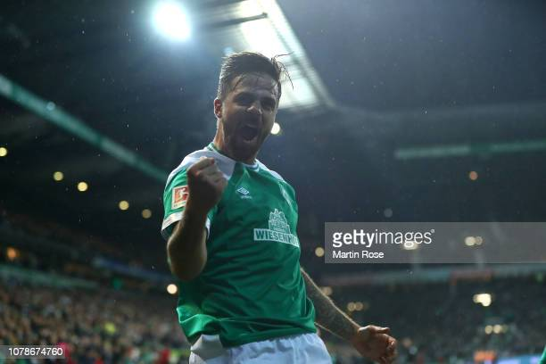 Martin Harnik of SV Werder Bremen celebrates scoring the second goal during the Bundesliga match between SV Werder Bremen and Fortuna Duesseldorf at...