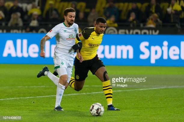 Martin Harnik of Werder Bremen and Manuel Akanji of Dortmund battle for the ball during the Bundesliga match between Borussia Dortmund and SV Werder...