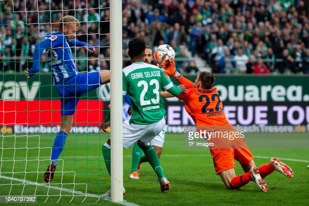 Martin Harnik of Werder Bremen scores the team`s first goal and Fabian Lustenberger of Hertha BSC and Goalkeeper Rune Jarstein of Hertha BSC in...