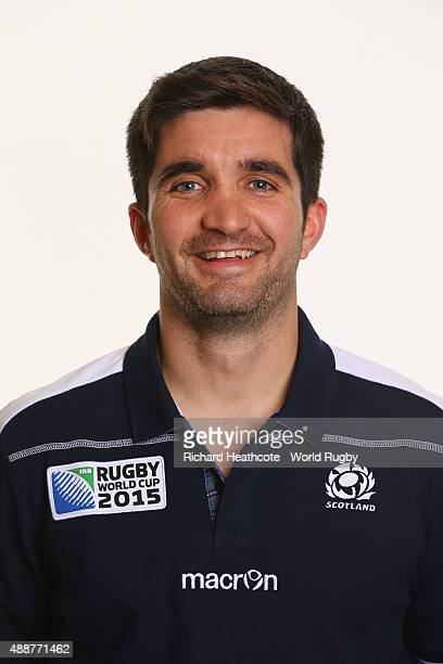 Martin Hastie of Scotland during the Scotland Rugby World Cup 2015 squad photo call at the Hilton Puckrup Hall Hotel on September 17 2015 in...
