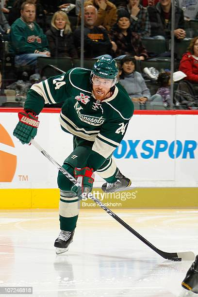 Martin Havlat of the Minnesota Wild delivers a pass against the Nashville Predators during the game at the Xcel Energy Center on November 26 2010 in...