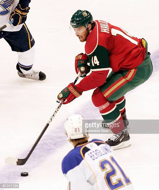 Martin Havlat of the Minnesota Wild skates with the puck during their preseason game against the St. Louis Blues at the Xcel Energy Center on...