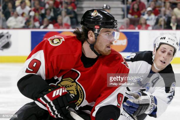 Martin Havlat of the Ottawa Senators skates against the Tampa Bay Lightning in game five of the Eastern Conference Quarterfinals during the 2006 NHL...