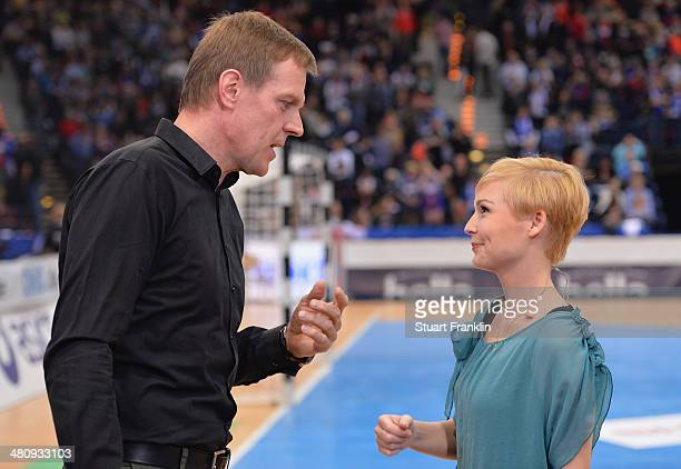 Martin Heuberger head coach of the German national handball team during an interview with Anett Sattler of Sport 1 at the DKB Bundesliga handball...