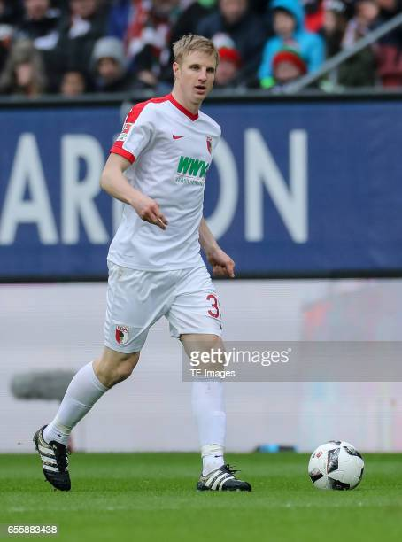 Martin Hinteregger of Augsburg controls the ball during the Bundesliga match between FC Augsburg and SC Freiburg at WWK Arena on March 18 2017 in...