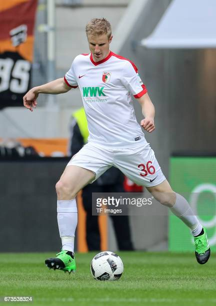 Martin Hinteregger of Augsburg controls the ball during the Bundesliga match between FC Augsburg and 1 FC Koeln at WWK Arena on April 15 2017 in...