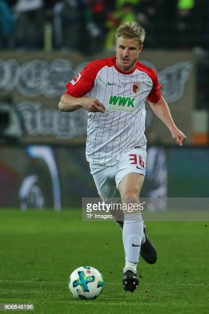 Martin Hinteregger of Augsburg controls the ball during the Bundesliga match between FC Augsburg and Hamburger SV at WWKArena on January 13 2018 in...