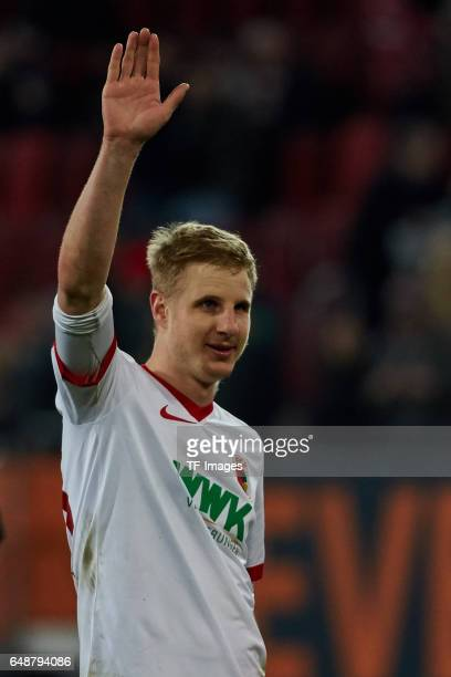 Martin Hinteregger of Augsburg gestures during the Bundesliga match between FC Augsburg and RB Leipzig at WWK Arena on March 3 2017 in Augsburg...