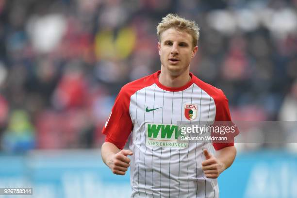 Martin Hinteregger of Augsburg looks on during the Bundesliga match between FC Augsburg and TSG 1899 Hoffenheim at WWK-Arena on March 3, 2018 in...