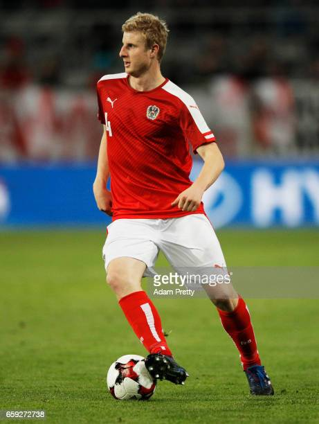Martin Hinteregger of Austria in action during the Austria v Finland International Friendly match at Tivoli Stadium on March 28 2017 in Innsbruck...