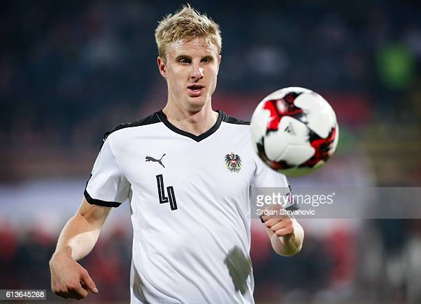 Martin Hinteregger of Austria in action during the FIFA 2018 World Cup Qualifier between Serbia and Austria at stadium Rajko Mitic on October 9 2016...