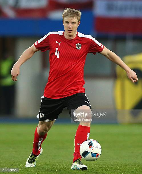 Martin Hinteregger of Austria runs with the ball during the international friendly match between Austria and Albania at the Ernst Happel Stadium on...