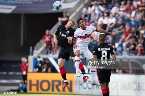 Martin Hinteregger of Eintracht Frankfurt and Omar Marmoush of VfB Stuttgart battle for the ball during the Bundesliga match between Eintracht...