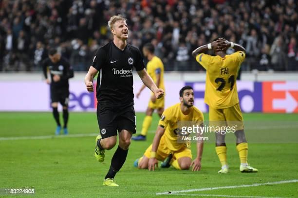Martin Hinteregger of Eintracht Frankfurt celebrates after scoring his team's second goal during the UEFA Europa League group F match between...