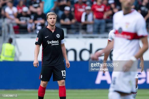 Martin Hinteregger of Eintracht Frankfurt looks on during the Bundesliga match between Eintracht Frankfurt and VfB Stuttgart at Deutsche Bank Park on...