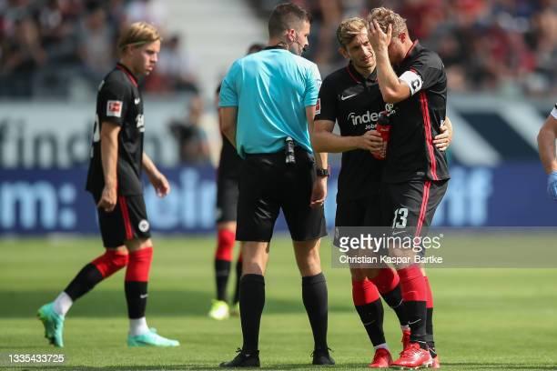 Martin Hinteregger of Eintracht Frankfurt reacts during the Bundesliga match between Eintracht Frankfurt and FC Augsburg at Deutsche Bank Park on...