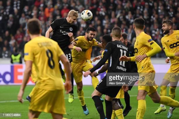 Martin Hinteregger of Eintracht Frankfurt scores his team's second goal during the UEFA Europa League group F match between Eintracht Frankfurt and...