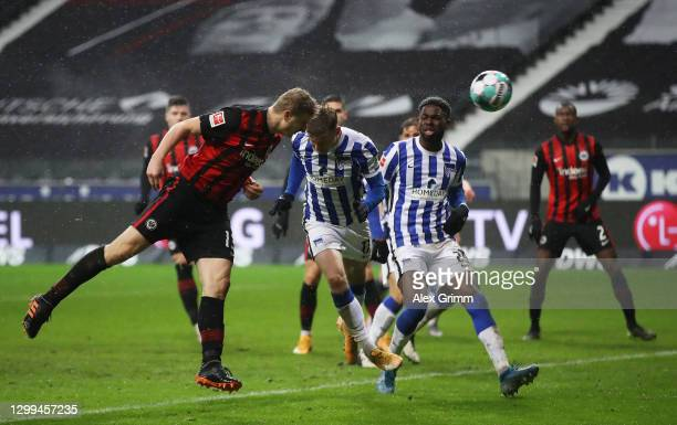 Martin Hinteregger of Eintracht Frankfurt scores his team's second goal during the Bundesliga match between Eintracht Frankfurt and Hertha BSC at...