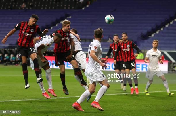 Martin Hinteregger of Eintracht Frankfurt scores their team's first goal during the Bundesliga match between Eintracht Frankfurt and FC Augsburg at...