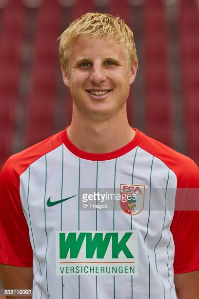 Martin Hinteregger of FC Augsburg poses during the team presentation at WWK Arena on July 17 2017 in Augsburg Germany