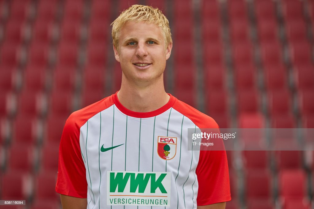 Martin Hinteregger of FC Augsburg poses during the team presentation at WWK Arena on July 17, 2017 in Augsburg, Germany.