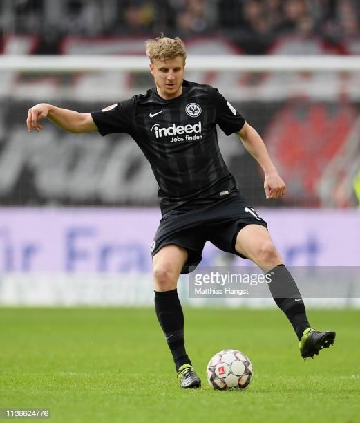 Martin Hinteregger of Frankfurt controls the ball during the Bundesliga match between Eintracht Frankfurt and 1 FC Nuernberg at CommerzbankArena on...