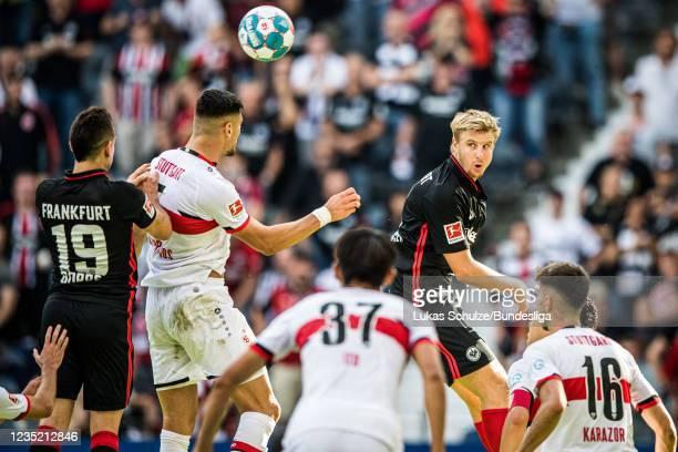 Martin Hinteregger of Frankfurt heads the ball during the Bundesliga match between Eintracht Frankfurt and VfB Stuttgart at Deutsche Bank Park on...