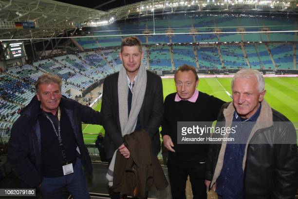 Martin Hoffmann attends with Richard Golz Joachim Streich and Wolfram Loewe the Club of former Germany's national players meeting prior to the...