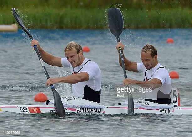 Martin Hollstein and Andreas Ihle of Germany compete during the Men's Kayak Double 1000m Canoe Sprint Finals on Day 12 of the London 2012 Olympic...