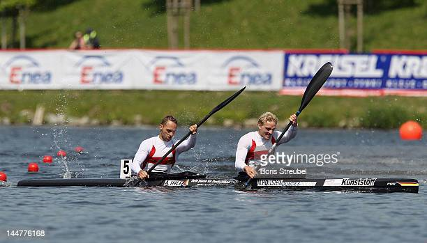 Martin Hollstein and Andreas Ihle of Germany competes in the men's kayak double 1000m Afinal during day two of the ICF Canoe Sprint World Cup 2012 at...