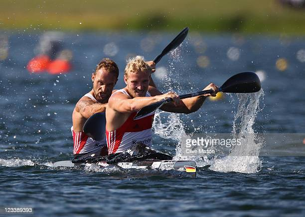 Martin Hollstein and Andreas Ihle of Germany in action on their way to a bronze medal in the Mens K2 Class final during day two of the London Canoe...