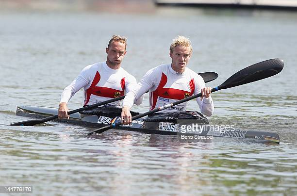 Martin Hollstein and Andreas Ihle of Germany relaxes after the men's kayak double 1000m Afinal during day two of the ICF Canoe Sprint World Cup 2012...