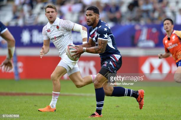 Martin Iosefo of The United States Of America runs with ball during the match between England and the United States Of America at the HSBC Paris...