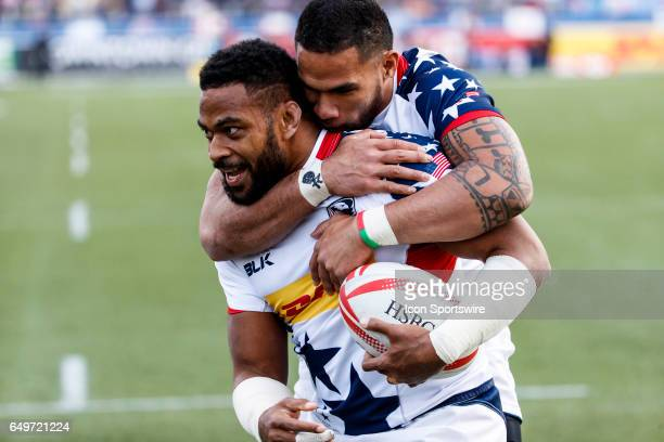 Martin Iosefo of USA jumps on Andrew Durutalo back in celebration Durutalo's try to win the Bronze Medal match between the United States and New...