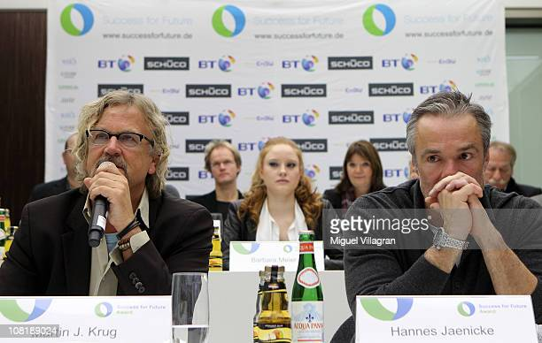 Martin J Krug initiator and organizer of the Success for Future Award and Actor Hannes Jaenicke address the media during the Success for Future Award...