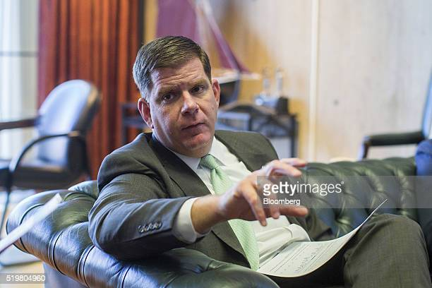 Martin J Walsh mayor of Boston speaks during a meeting with his staff at City Hall in Boston Massachusetts US on Tuesday March 29 2016 Plenty of...