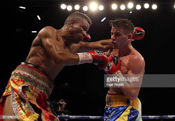 Martin J Ward in action against Ruddy Encarnacion during their WBC International Super-Featherweight title fight at First Direct Arena on April 16,...