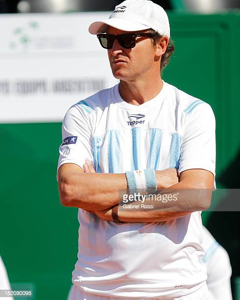 Martin Jaite captain of Argentina before the match between Argentina and Czech Republic as part of the third day of the Davis Cup Semifinal at Mary...
