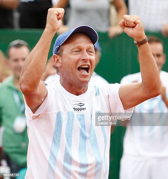 Martin Jaite coach of Argentina celebrates after the match against Christopher Kas and Tobias Kamke of Germany on the second day of Davis Cup at...