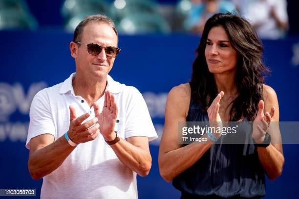 Martin Jaite of Argentina and Gabriela Sabatini of Argentina gesture during day 7 of ATP Buenos Aires Argentina Open at Buenos Aires Lawn Tennis Club...