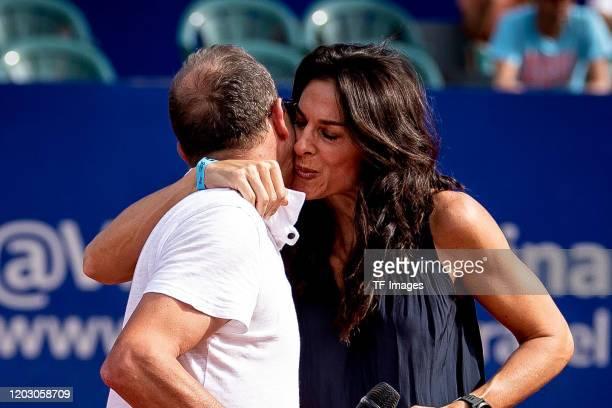 Martin Jaite of Argentina and Gabriela Sabatini of Argentina gestures during day 7 of ATP Buenos Aires Argentina Open at Buenos Aires Lawn Tennis...