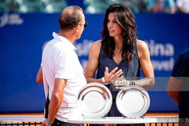 Martin Jaite of Argentina and Gabriela Sabatini of Argentina look on during day 7 of ATP Buenos Aires Argentina Open at Buenos Aires Lawn Tennis Club...