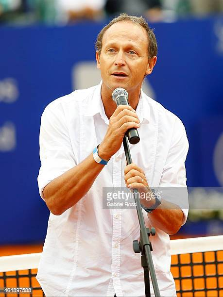 Martin Jaite Tournament Director talks after finish a singles final match between Rafael Nadal of Spain and Juan Monaco of Argentina as part of ATP...