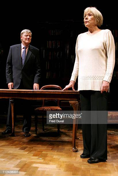 Martin Jarvis and Diana Rigg during 'Honour' at Wyndham's Theatre Photocall at Wyndham's Theatre in London Great Britain